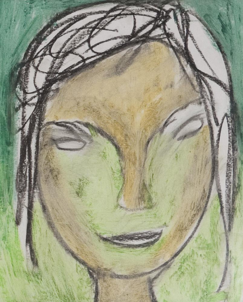 Gesichter 062-5 - 21x24 Ölkreide auf Papier