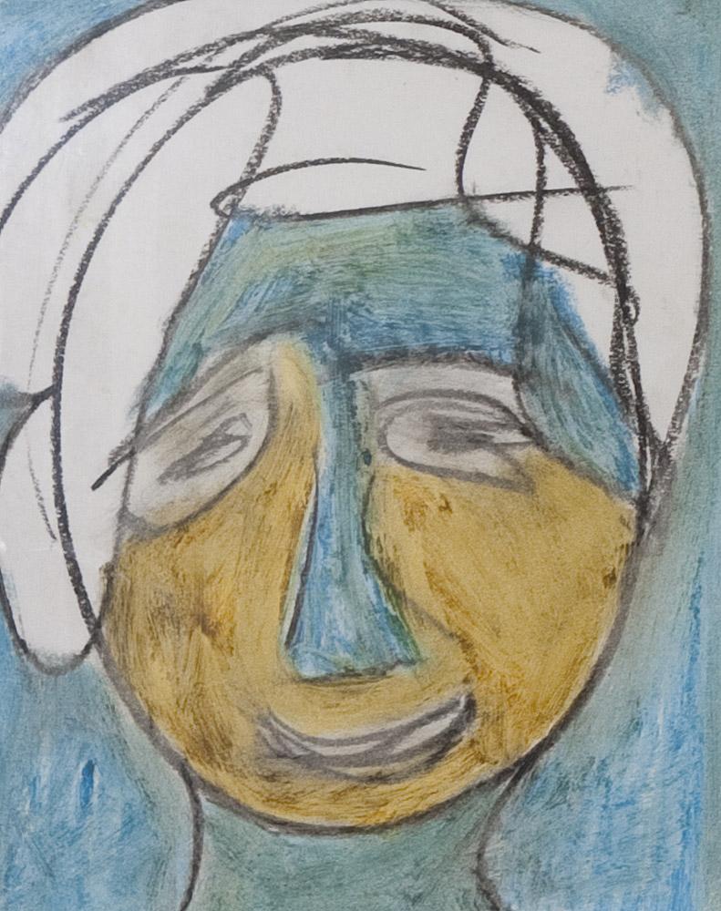 Gesichter 062-6 - 21x24 Ölkreide auf Papier