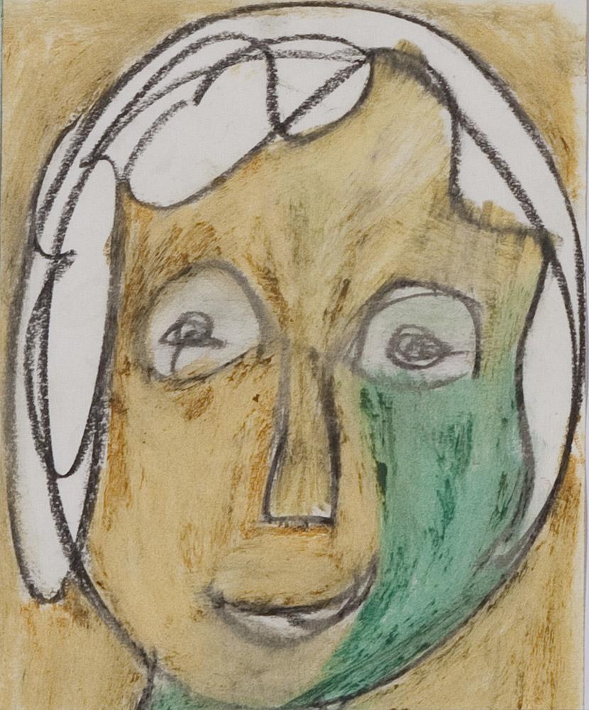 Gesichter 062-7 - 21x24 Ölkreide auf Papier