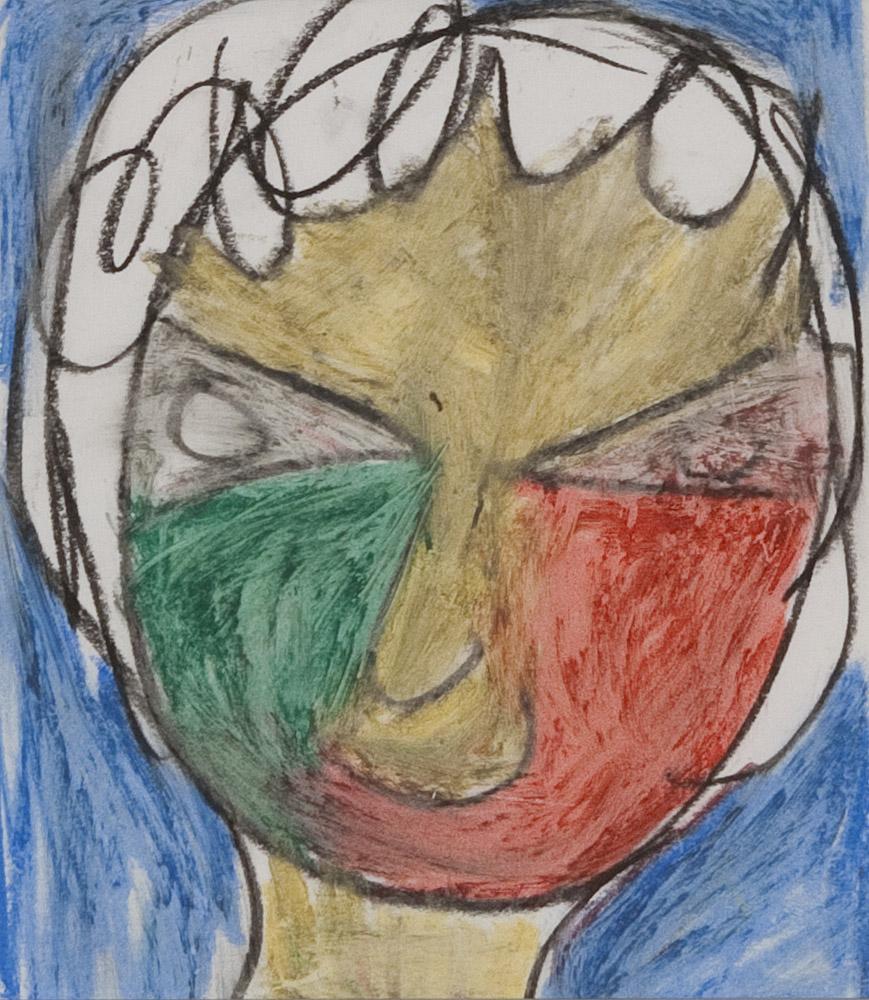 Gesichter 062-8 - 21x24 Ölkreide auf Papier