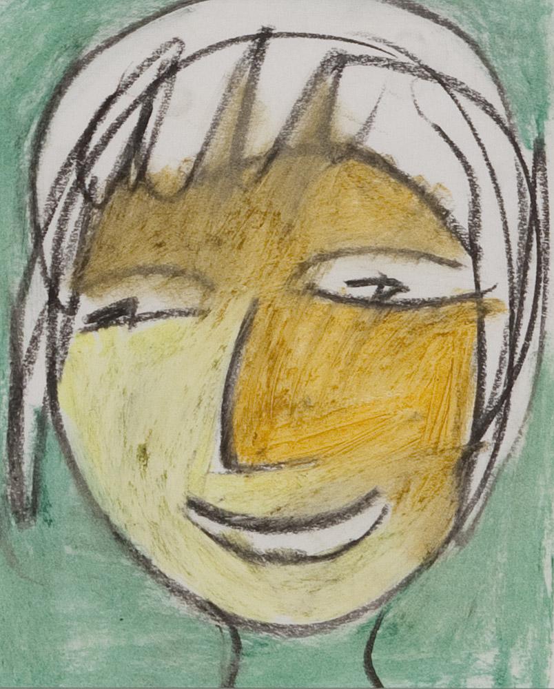 Gesichter 062-9 - 21x24 Ölkreide auf Papier