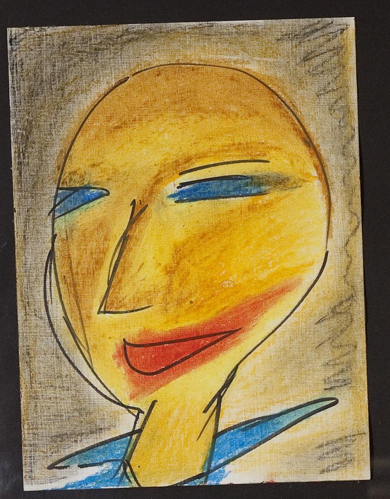 Gesichter 071-1 - 24x32 Ölkreide auf Papier