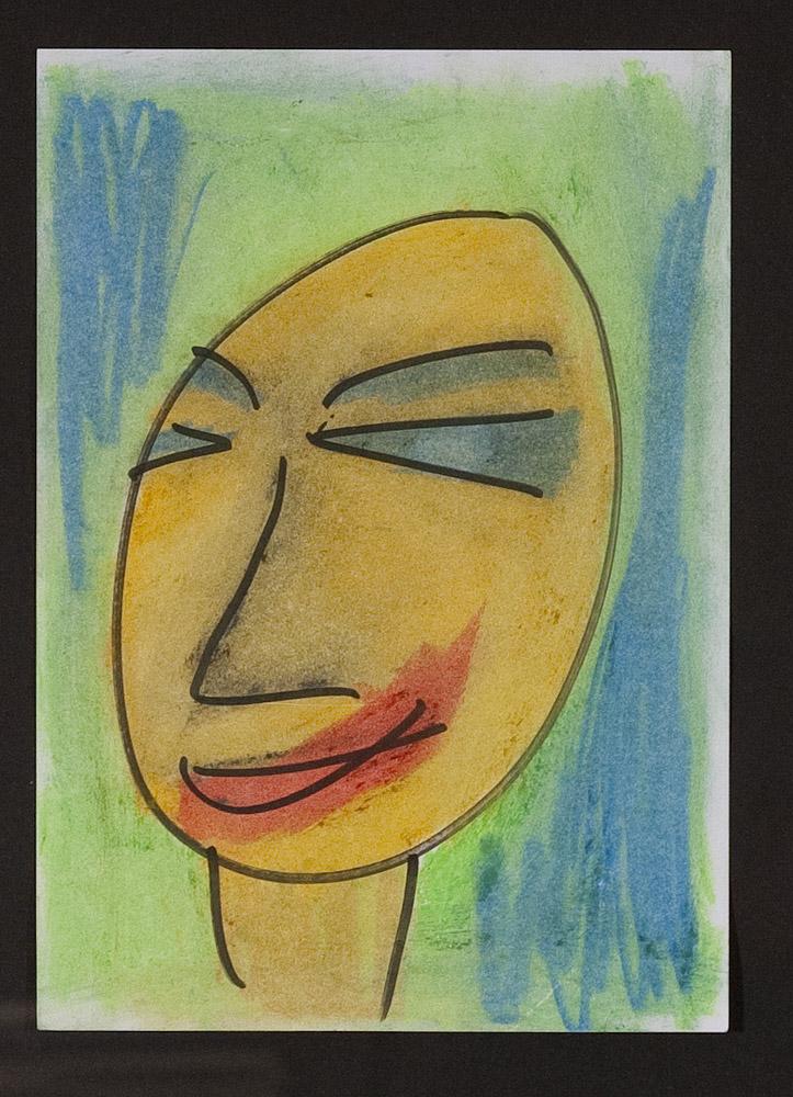Gesichter 071-2 - 21x30 Ölkreide auf Papier