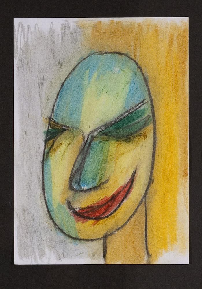 Gesichter 071-3 - 21x30 Ölkreide auf Papier