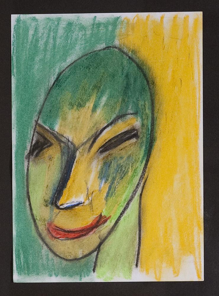 Gesichter 071-4 - 21x30 Ölkreide auf Papier