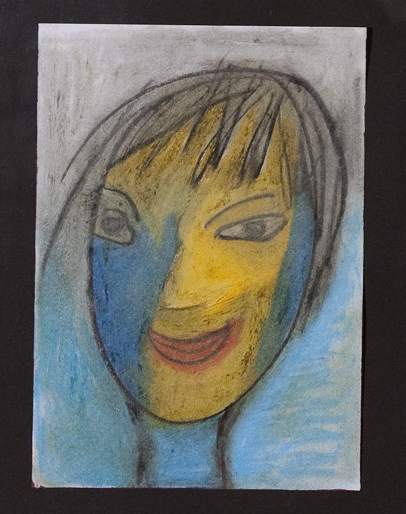 Gesichter 071-5 - 21x30 Ölkreide auf Papier