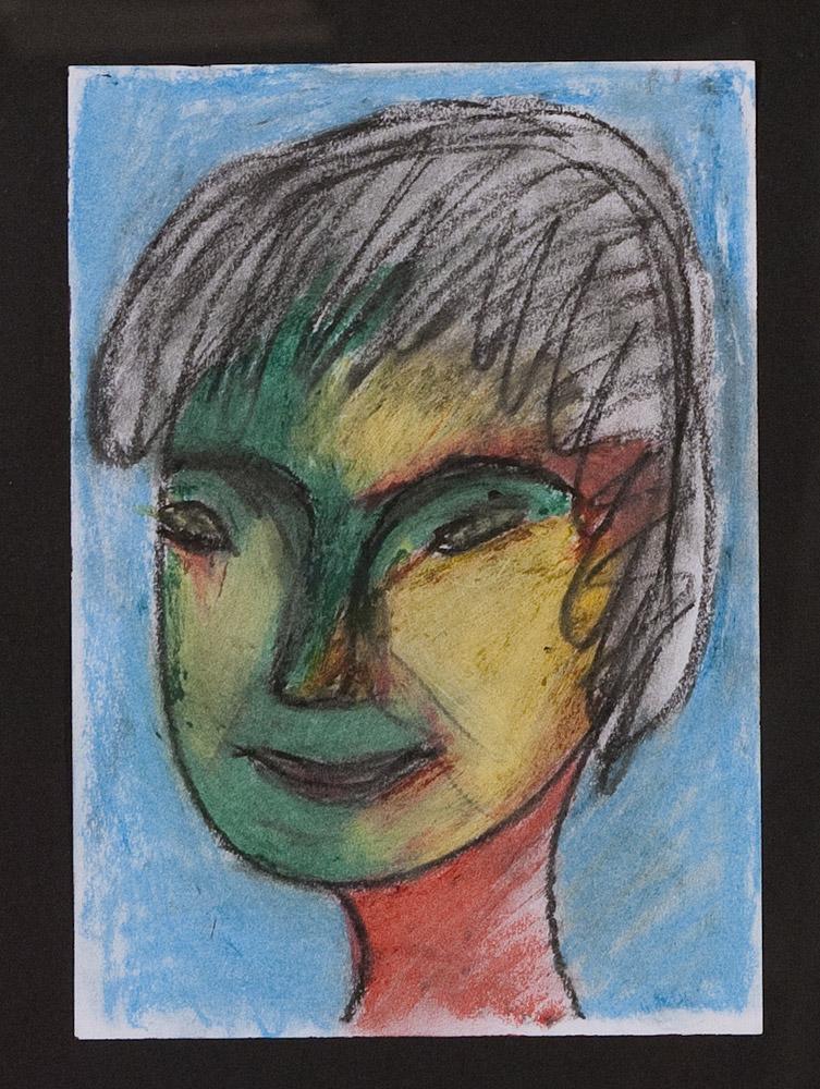 Gesichter 071-6 - 21x30 Ölkreide auf Papier