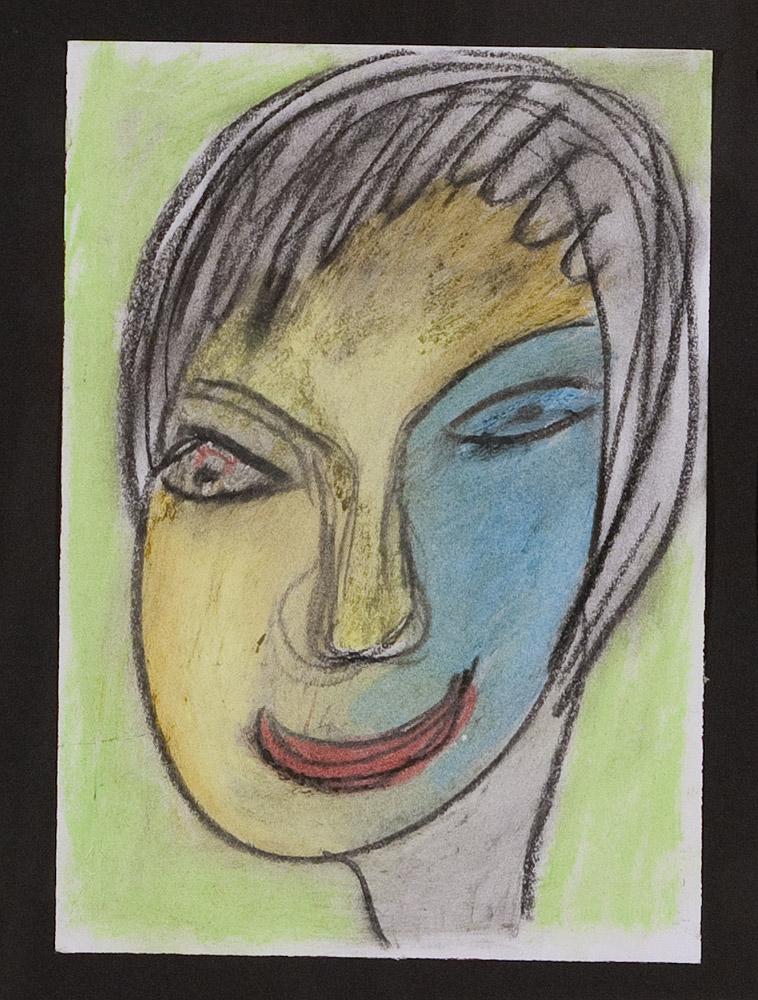 Gesichter 071-7 - 21x30 Ölkreide auf Papier
