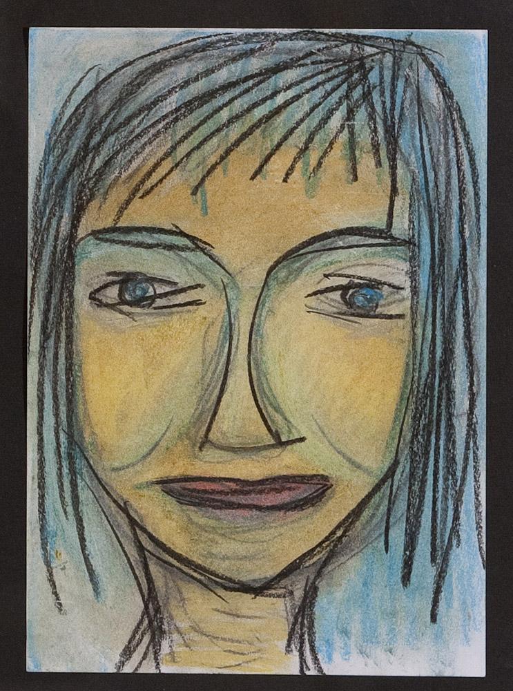 Gesichter 071-8 - 21x30 Ölkreide auf Papier