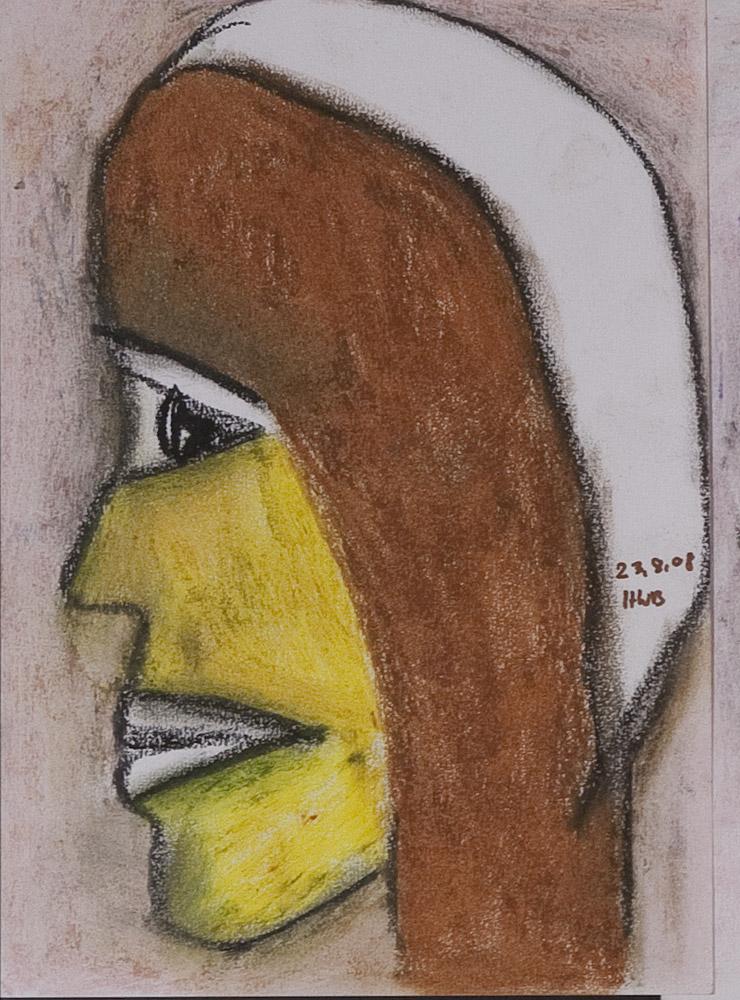 Gesichter 082-1 - 21x30 Ölkreide auf Papier