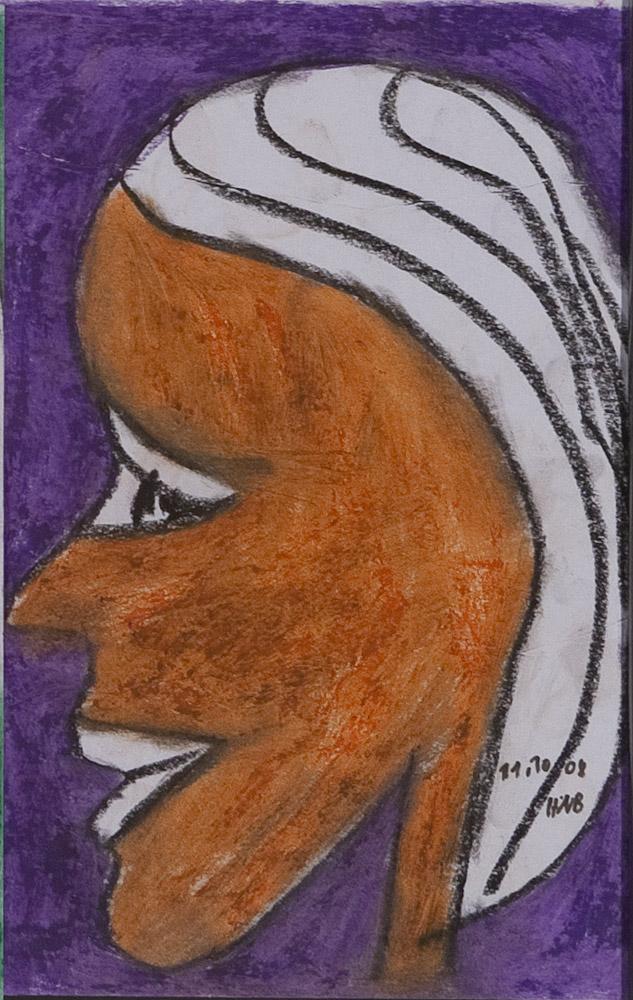 Gesichter 082-10 - 21x30 Ölkreide auf Papier