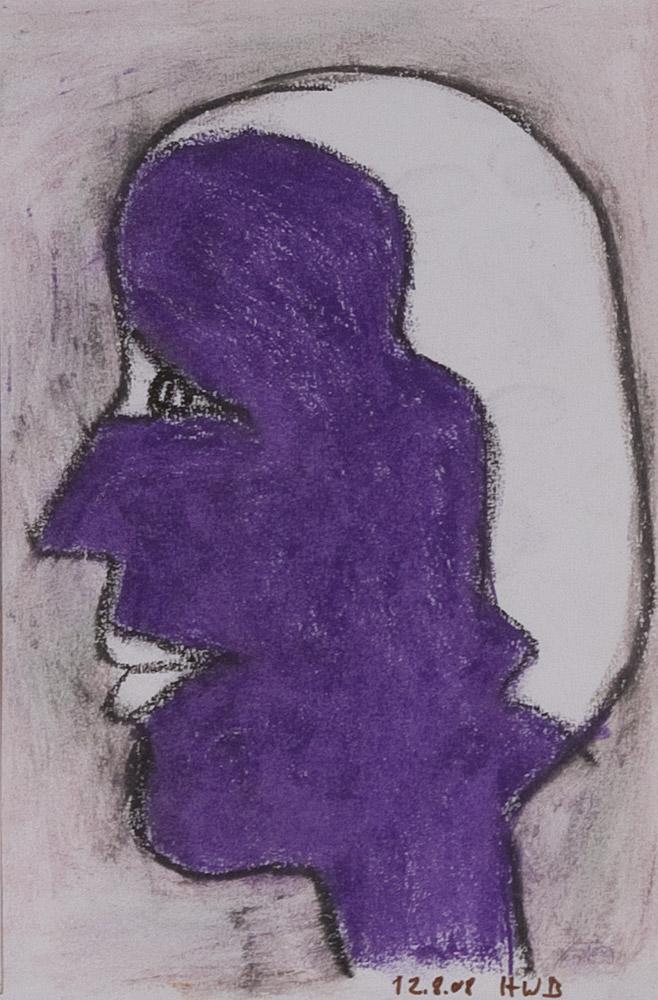 Gesichter 082-2 - 21x30 Ölkreide auf Papier
