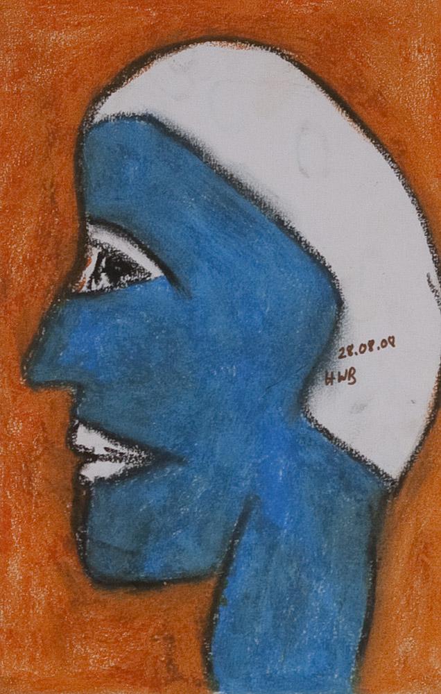 Gesichter 082-3 - 21x30 Ölkreide auf Papier