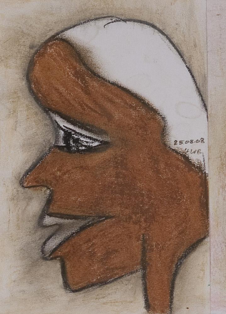 Gesichter 082-4 - 21x30 Ölkreide auf Papier