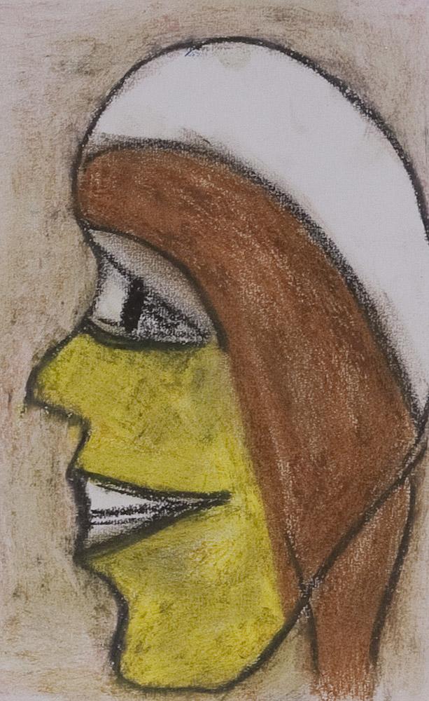 Gesichter 082-5 - 21x30 Ölkreide auf Papier