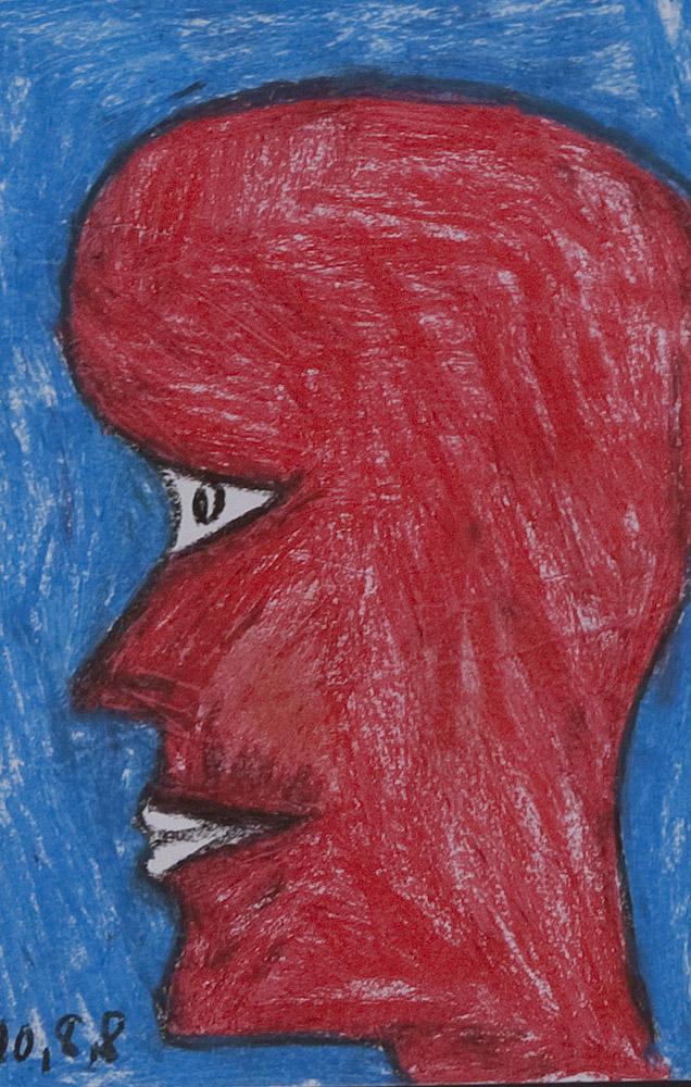 Gesichter 082-7 - 21x30 Ölkreide auf Papier