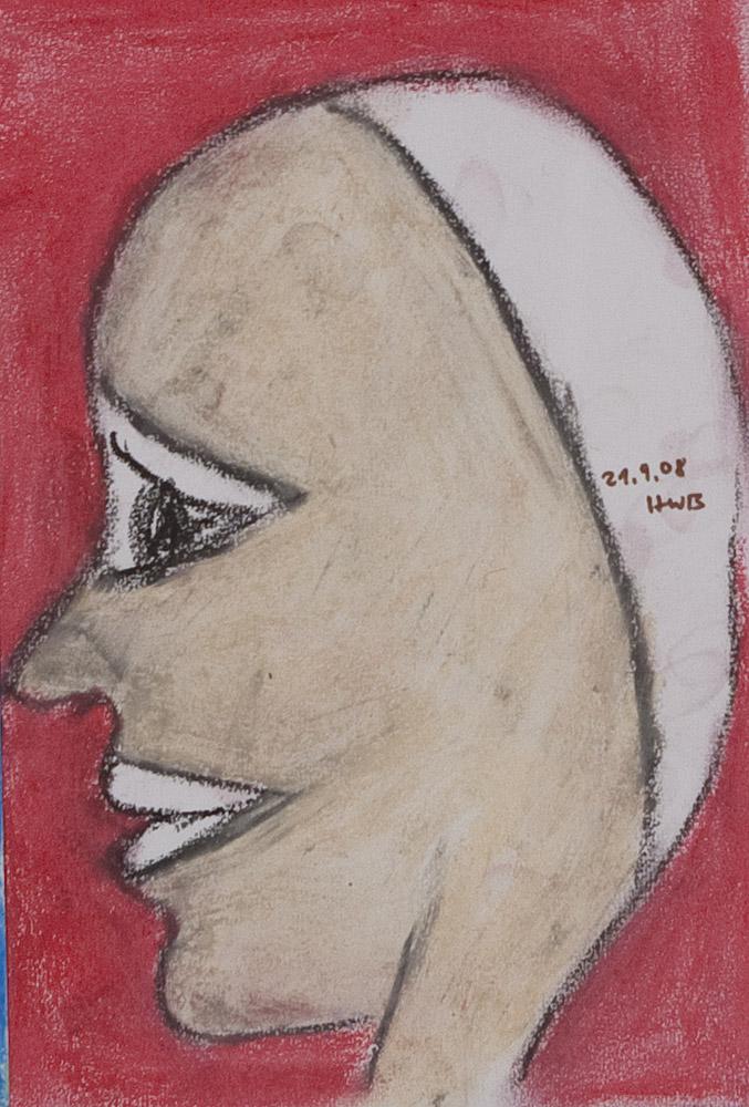 Gesichter 082-8 - 21x30 Ölkreide auf Papier