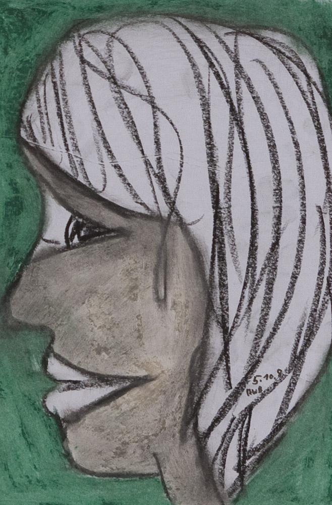 Gesichter 082-9 - 21x30 Ölkreide auf Papier