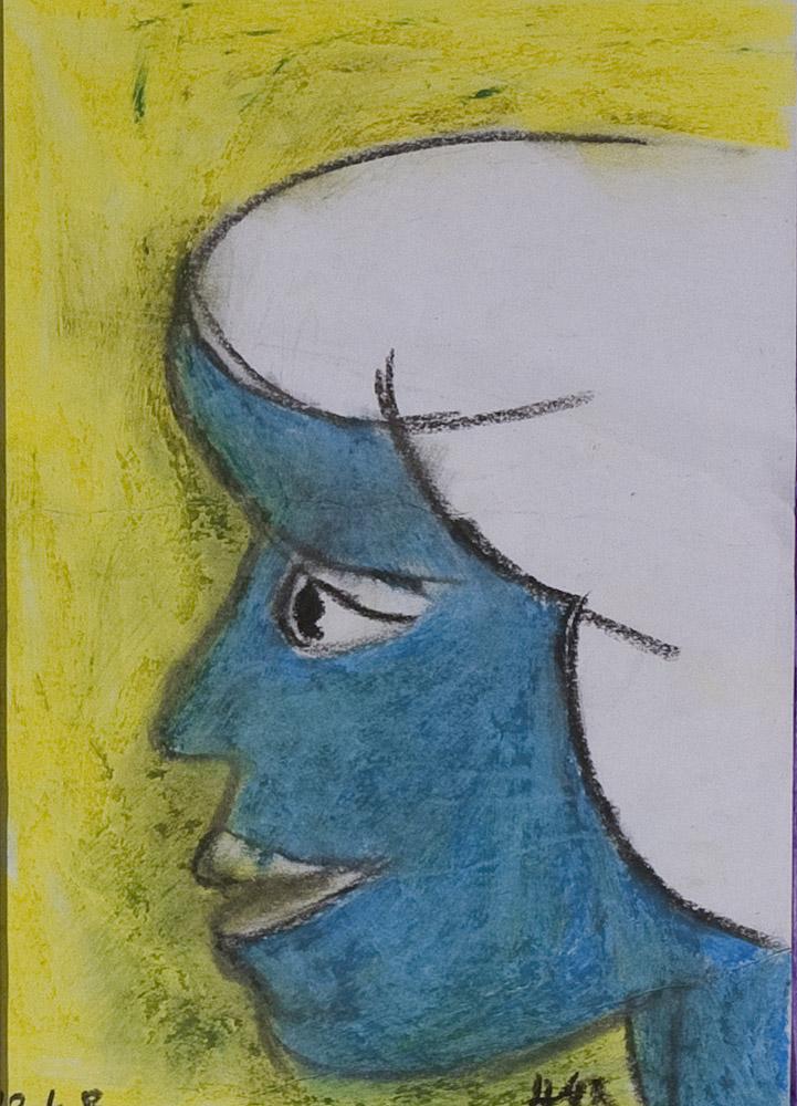 Gesichter 093-1 - 21x30 Ölkreide auf Papier