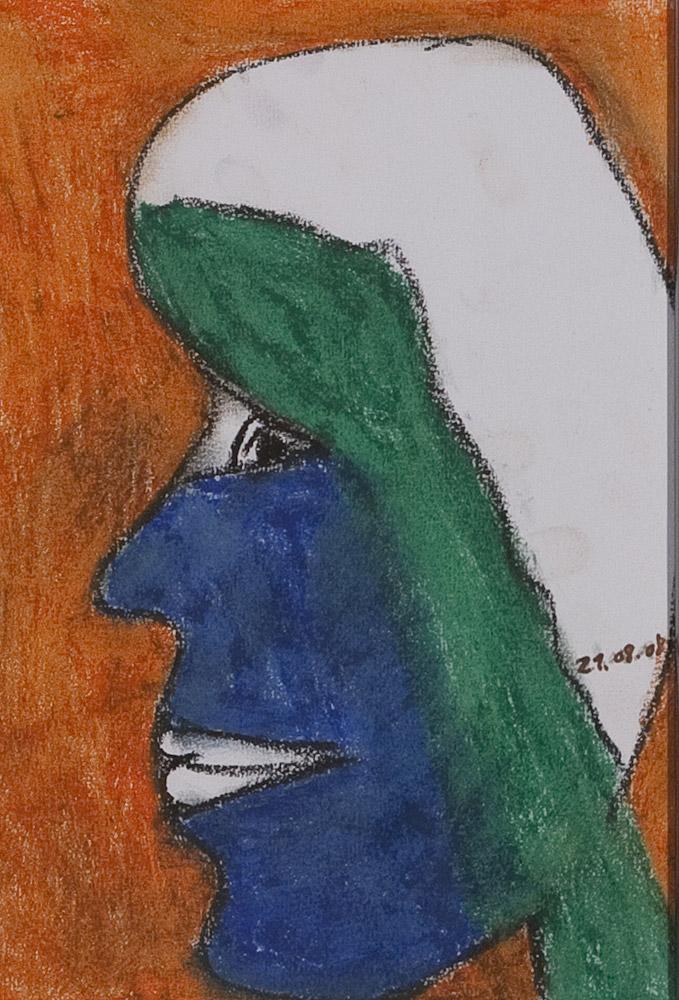 Gesichter 093-10 - 21x30 Ölkreide auf Papier