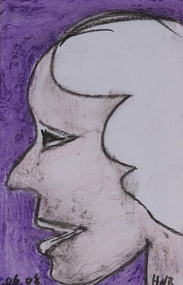 Gesichter 093-2 - 21x30 Ölkreide auf Papier