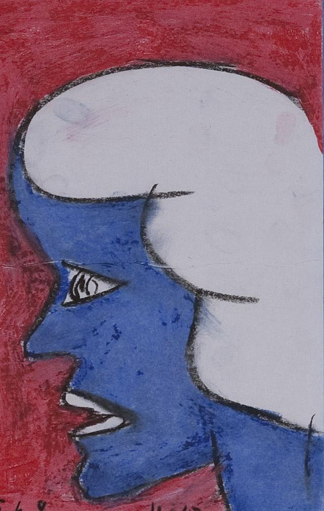 Gesichter 093-3 - 21x30 Ölkreide auf Papier