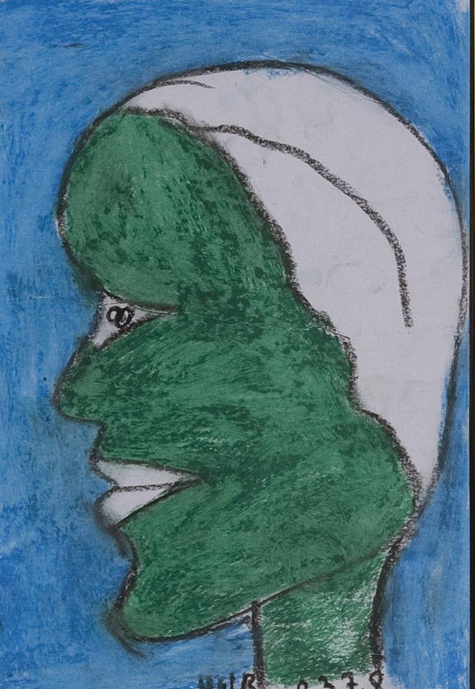 Gesichter 093-4 - 21x30 Ölkreide auf Papier