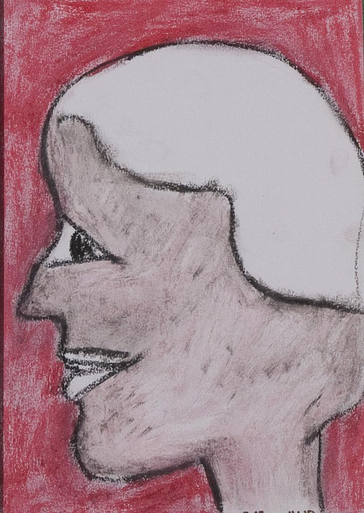 Gesichter 093-6 - 21x30 Ölkreide auf Papier
