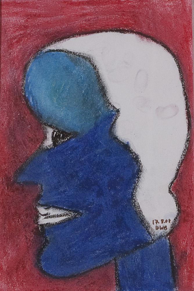 Gesichter 093-8 - 21x30 Ölkreide auf Papier
