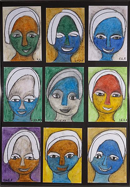 Gesichter 010 - Rahmen 70x100 mit 9 Bildern