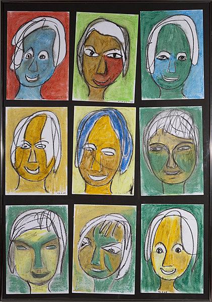 Gesichter 030 - Rahmen 70x100 mit 9 Bildern