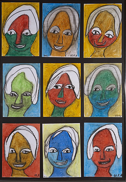 Gesichter 040 - Rahmen 70x100 mit 9 Bildern