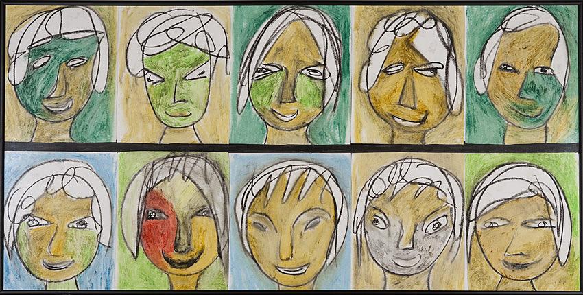 Gesichter 051 - Rahmen 50x100 mit 10 Bildern