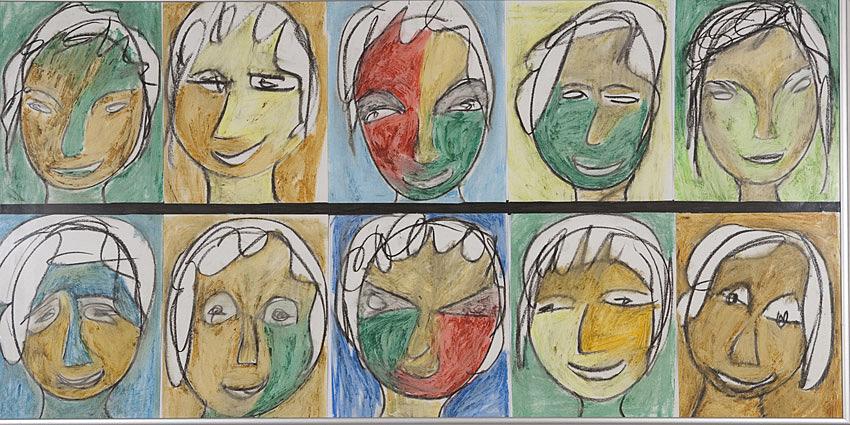 Gesichter 062 - Rahmen 50x100 mit 10 Bildern