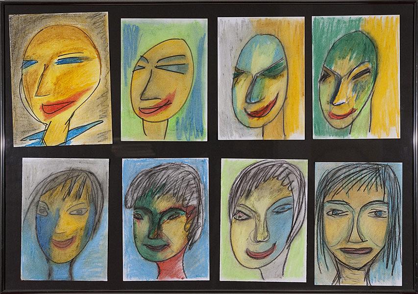 Gesichter 071 - Rahmen 70x100 mit 10 Bildern