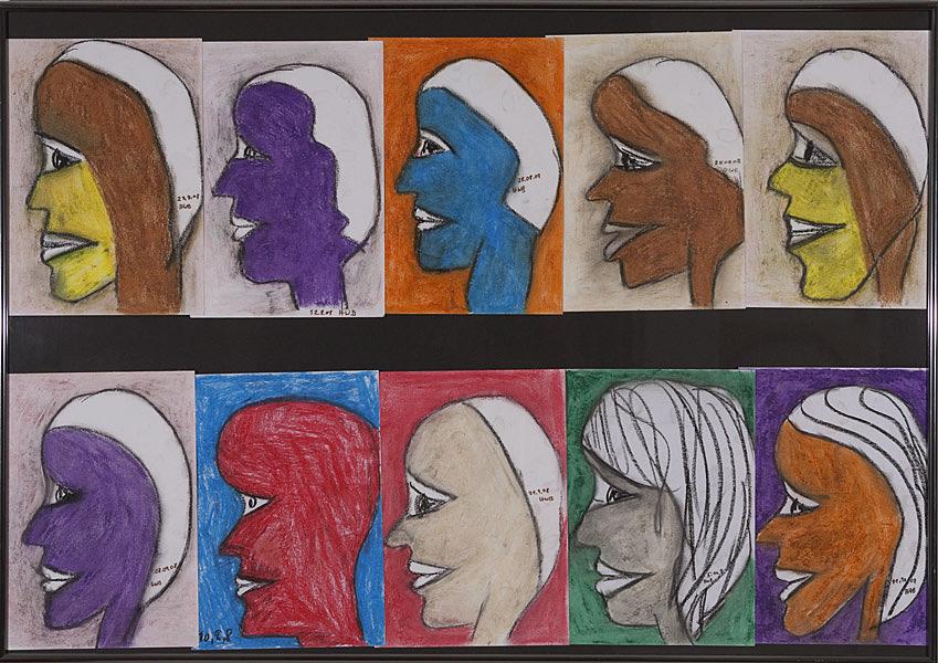 Gesichter 082 - Rahmen 70x100 mit 10 Bildern