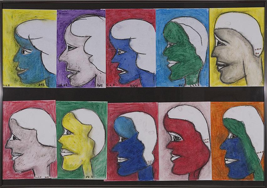 Gesichter 093 - Rahmen 70x100 mit 10 Bildern